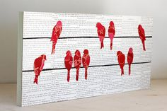 """Pink Birds on Telephone WIres Over Vintage Text Mounted on a 10""""x22"""" Birch Panel, Bird on a WIre Art, Bird Art"""