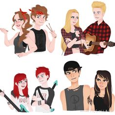 5SOS With their lady selves<<this is so cute!!!<< THE FACT THAT I LOOK LIKE THE ASH ONE AND I HAVE THE ATTITUDE OF THE CAL ONE JUST KILLS ME