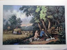 A gallery image of the Currier and Ives print: The Return From The Woods. Currier And Ives, Geraniums, Farm Life, American Art, New England, Ballerina, Poppy, Woods, Landscapes