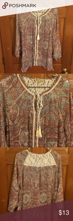 EUC, Very cute designed & detailed top, w/crochet EUC, Very cute designed & detailed top, w/crochet & pleated back, gathered down the front, & gathered on sleeves. Democracy Tops Blouses