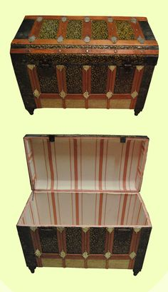 Baúl  Restauración Old Trunks, Vintage Trunks, Trunks And Chests, Vintage Steamer Trunk, Treasure Chest, End Tables, Painted Furniture, Decorative Boxes, Cool Stuff