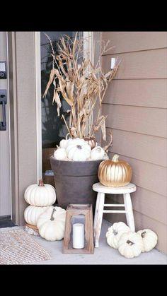 White pumpkin front porch vignette