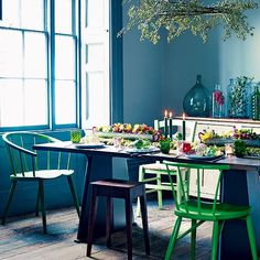 Bright, bold colours give this festive dining room a real wow factor