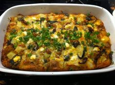 Potato Strata With Spinach, Sausage and Goat Cheese