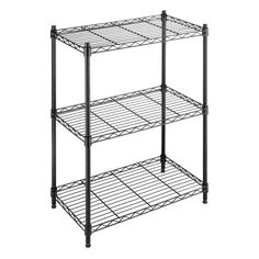Heavy duty black epoxy steel construction allows you to expand your shelf space in any room with this three-tier storage rack. This durable unit features 200-pound capacity shelves and adjustable leveling feet.