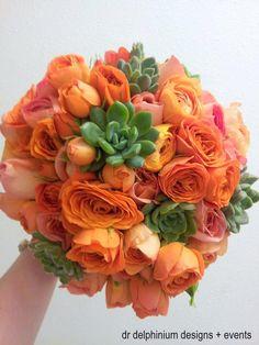 Orange & Succulent Wedding Bouquet by Dr Delphinium