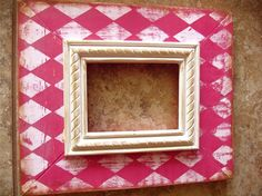 Diamond -Pink-Cream Wooden Distressed Picture Frame -Any Size- Any Color- Custom Frame Crafts, Diy Frame, Diy Crafts, Mirror Painting, Painting Frames, Distressed Picture Frames, Decoupage, Old Frames, Photo Displays