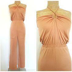 Vintage 70s Disco Jumpsuit Size Small Keyhole Beige Summer BOHO Pantsuit #NuPhase #Jumpsuit