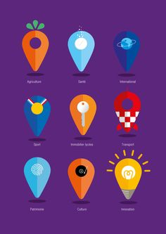 Institutional advertising campaign Region Rhône-Alpes on Behance Web Design, Graph Design, Icon Design, Logo Design, Map Logo, Location Icon, Map Icons, Travel Logo, Information Graphics