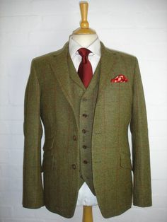 Red on Green Check 3 Piece Tweed Wedding Suit