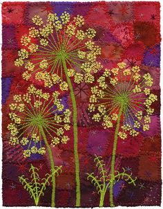 Floral embroidery on patchwork Embroidery Art, Embroidery Applique, Embroidery Stitches, Embroidery Patterns, Crazy Quilting, Crazy Patchwork, Art Textile, Landscape Quilts, Textiles