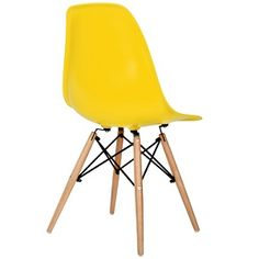 <b>Eames Style DSW Chair, Yellow</b>