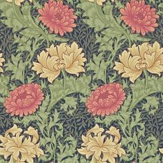 Chrysanthemum (212549) - Morris Wallpapers - Inspired by Japanese decorative art, this is a fresh print of the Morris 1877 classic with its all-over Chrysanthemum flower pattern. Shown in the green on blue with red and cream colourway.  Please request sample for true colour match