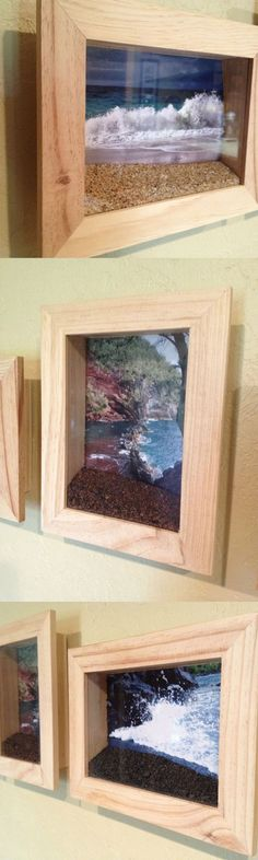 beach photos in shadow box with sand/shells