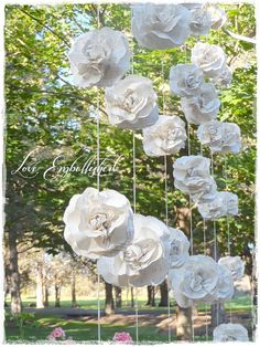 "A ""Curtain"" of 7 Garlands Paper Flower Roses from Vintage Books Backdrop Photo Booth  Wedding Decoration - Fills 6-7 ft x 7 ft area Gorgeous..."