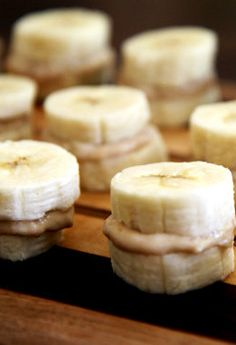Great healthy snack for after school or after a workout! Frozen banana peanut butter! | fit sugar.  Use almond butter instead of peanut butter yum.