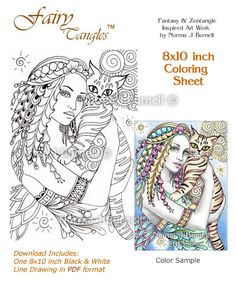 Mira & Orlando Fairy Tangles Coloring Sheet Coloring Page by Norma J Burnell Fairies Cats