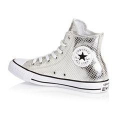 9f93f673a335 Converse Chuck Taylor All Star Metallic Snake Leather Hi Shoes -  Silver Black White