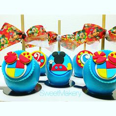Mickey Mouse Clubhouse Apples For The Dessert Table Mickeymouse Mickeymousedesserttable Mickeymouseclubhousedesserttable