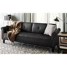 10 Spring Street Ashton Faux Leather Sofa Bed, Black