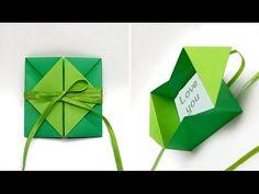 Origami envelope with flower. Origami envelope for gift card. Origami Envelope Easy, Origami Gift Box, Origami Cards, Origami Ideas, Origami Bookmark, Easy Origami, Origami Paper, Kirigami, Origami Christmas Star