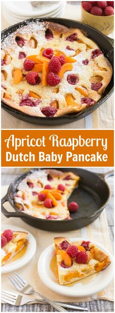 Apricot Raspberry Dutch Baby Pancake Recipe via Dinner at the Zoo - This giant apricot raspberry dutch baby pancake bakes in the oven and is a showstopping addition to your breakfast or brunch - no flipping required! Dutch Baby Pancake, Dutch Pancakes, Dutch Oven Cooking, Dutch Oven Recipes, Yummy Pancake Recipe, Yummy Food, Pancake Recipes, Pancake Ideas, Baby Food Recipes