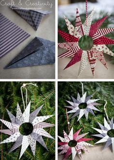 Christmas decorating with paper    Original DIY Origami Paper Stars For Christmas Decor