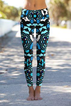Kaleidoscope Lucy Blue Geometric Print Performance Yoga Leggings - Women