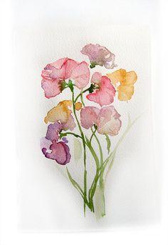 Spring Flowers Watercolor originalFlowers painting Art by rakla, $25.00