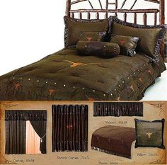 Longhorn With Barbwire Western Bedding Themed That Features Texas Images Embroidered