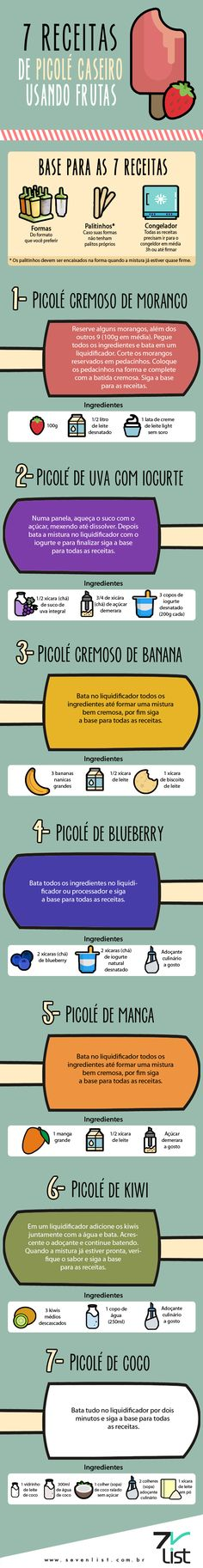 #Sevenlist #Infográfico #Infographic #List #Lista #Ilustração #Illustration #Desenho #Picolé #Sorvete #Icecream #Picolécaseiro #Receita #Frutas #Saudável #Bemestar #Alimentação #Comerbem #Sobremesa #Doce #Morango #Uva #Banana # kiwi #Manga #Coco #Blueberry