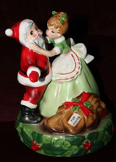 "Josef Original ""I Saw Mommy Kissing Santa Claus"" music box. Christmas In Heaven, Christmas Past, Merry Little Christmas, Retro Christmas, Vintage Holiday, Christmas Images, Rustic Christmas, Vintage Ornaments, Vintage Santas"