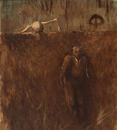 shadesandshadows:   Memento: Scene of Horror, 1895, oil on cardboard and cloth by Laszlo Mednyanszky, Hungarian, 1852-1919.  Mednyanszky was also known as Ladislaw and was a member of the Hungarian aristocracy. His subjects were landscapes and genre scenes of Slovak people. This painting is owned by the Slovak National Gallery in Bratislava, Hungary.