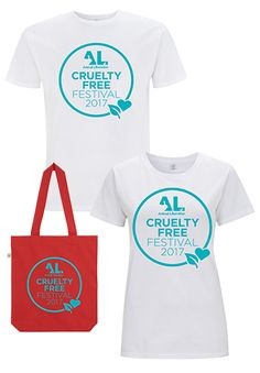 Great fitting tees and tote bags, 100% organic cotton, sustainably sourced & certified fair trade! Available only at the Festival! Cruelty Free Festival 2017  #crueltyfree #tshirts #totes