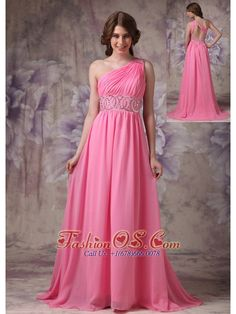 Wonderful Rose Pink Empire One Shoulder Prom Dress Chiffon Ruch And Beading Brush Train  Stunning and beautiful are two words to perfectly describe this pink prom dress. It features a gorgeous one shoulder bodice that's heavily embellished with intricate beadwork and exquisite ruchings. The single strap is also heavily decorated and crosses the open back at the shoulder. The floor length skirt is so smooth and elegant that extends into a lovely brush train in the back.