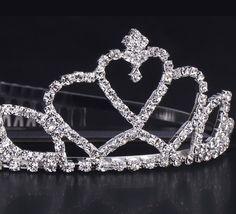 Multi-Coat Hear Shape Shiny Rhinestone Girl Wedding Prom Tiara Crown Headband
