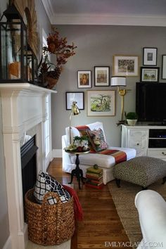 Decorating our living room for Fall:    http://emilyaclark.blogspot.com/2013/10/making-over-our-mantel-for-fall.html
