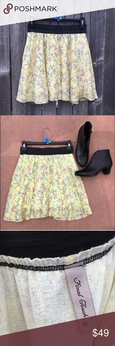 "ModCloth Pastel Yellow Floral Skater Skirt S EUC, like new! Final Touch Brand from ModCloth. Pale or pastel yellow skater skirt with turquoise and purplish-pink floral print. Black elastic waistband. 13"" waist (unstretched), 18"" hips, 17"" length. Booties for sale in separate listing. Offers warmly welcomed! ModCloth Skirts Mini"