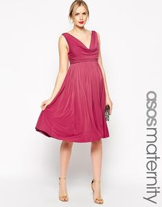 Enlarge ASOS Maternity Pleated Midi Dress With Drape Cowl Neck