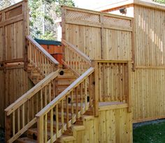 Incorporate fencing into your deck design for privacy and protection. Hot Tub Deck, Backyard Privacy, Pool Decks, Outdoor Living, Outdoor Decor, Fence Ideas, Deck Design, Nova Scotia, Fencing