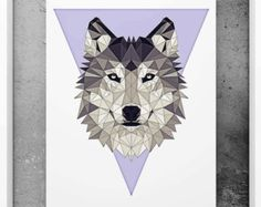 Wolf Poster Geometric Art Black and white wall decor by PFposters