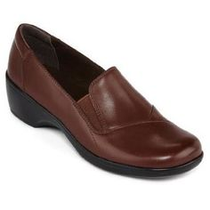 women's flats: Clarks May Ivy Leather Slip Ons, Brown, Womens Shoes For School, Nursing Shoes, Leather Slip Ons, New Shoes, Womens Flats, Oxford Shoes, Dress Shoes, Loafers, My Style