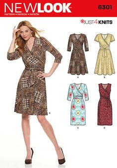 Misses' Just 4 Knits dress. Comfortable, stylish and figure flattering mock wrap knit dress has slim or flared skirt, several sleeve options and a tie worn front or back. New Look sewing pattern 6301.