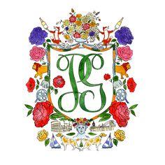 Watercolor crest, heraldry, wedding crest, custom crest Rachel Rogers, Monograms, Calligraphy, Watercolor, Wedding, Design, Art, Pen And Wash, Valentines Day Weddings