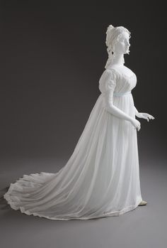 Evening Dress: ca. 1800, European, cotton plain weave.