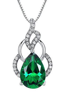 Collana con pendente da donna 4.5 carati Smeraldo pera lacrima in Argento Sterling, catenina veneziana da 46 cm - Sc035n6: Amazon.it: Gioielli