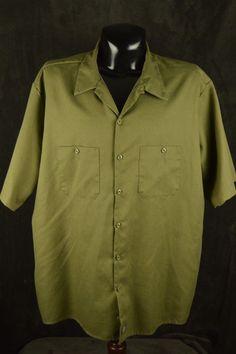 Dickies  4XL OD Green work shirt Hipster mechanic  #Dickies #ButtonFront