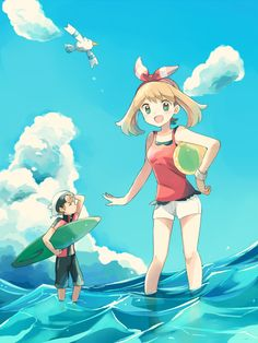 Pokemon Omega Ruby and Alpha Sapphire - May, Brendan, and Wingull