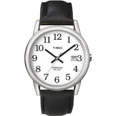 Timex Men's T2H281 Easy Reader Black Leather Strap Silver-Tone Case Watch. $25.00