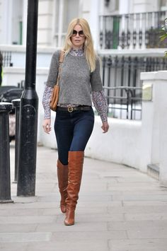 Claudia Schiffer wearing a t-shirt knit over a Liberty style print shirt. Definite for next winter!